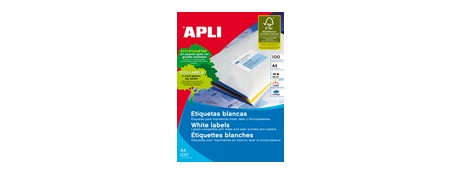 APLI LABELS A4 1/Sheet 210X297MM SQUARE 100 SHEETS